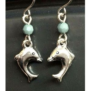 Silver Dolphin Earrings Nautical Sea life Bead
